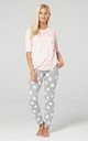 Women's Maternity Nursing Pyjama Loungewear Set Crossover Front Powder Pink and Grey with Stars by Chelsea Clark