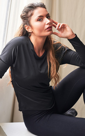 The Aurora Long Sleeve Mesh Back Top in Black by The Gym Wear Boutique