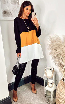 Oversized Colour Block Top In Black, Yellow And White With Necklace by HOXTON GAL Product photo