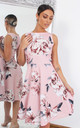 Amora Pink Floral Sleeveless Skater Dress by Missfiga