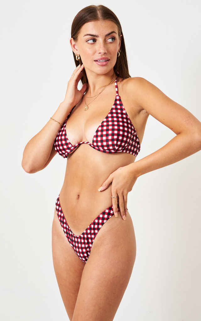 Red Gingham High Leg Bikini Bottom by love frontrow