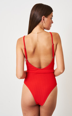 Red Crinkle Belted One Piece Swimsuit by love frontrow