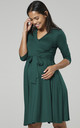 Maternity Nursing Midi Dress Dark Green 609 by Chelsea Clark