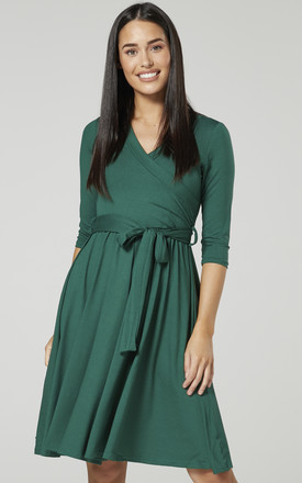 Maternity Nursing Midi Dress Green 609 by Chelsea Clark