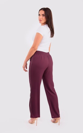Ferial Women's Wide-Leg Trousers in Plum by Diamantine