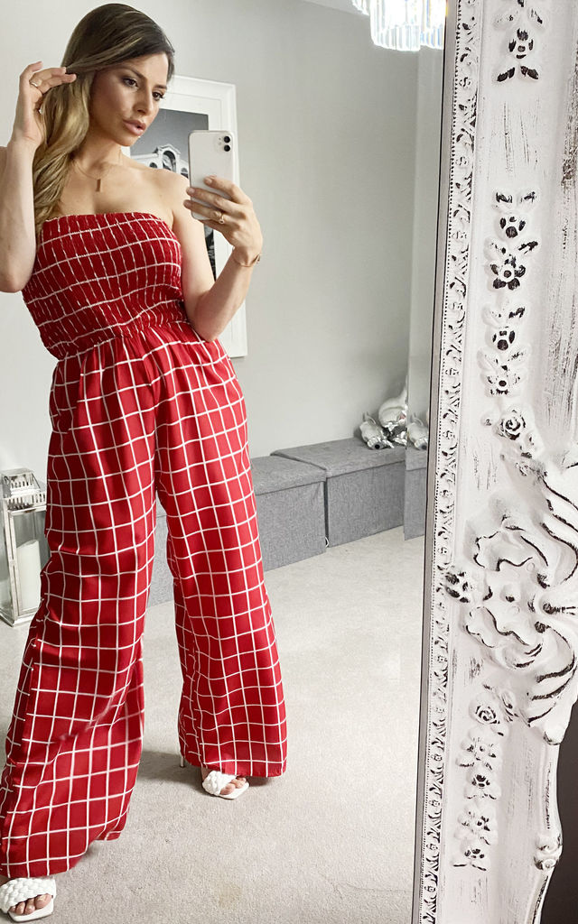 Check Print Red Boob Tube Jumpsuit by KRISP
