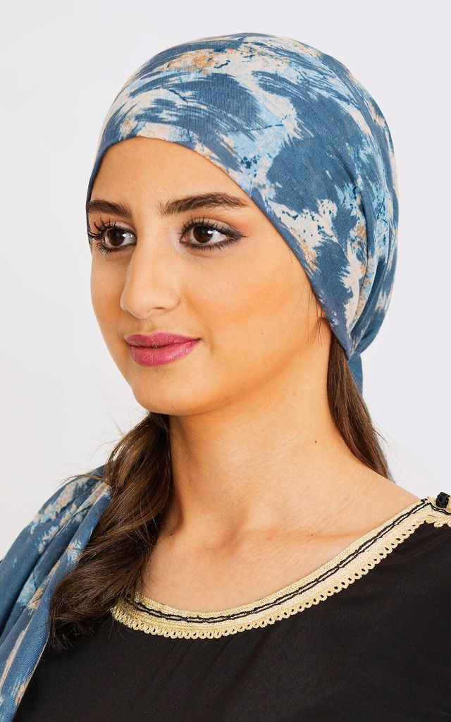 Women's Lightweight Head Scarf in Blue Abstract Multi Print by Diamantine