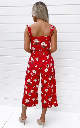 Red Floral Printed Jumpsuit by AX Paris