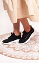 So Fine Black Flyknit Trainer With Lace Up Detail & Chunky White Rubber Sole by Linzi