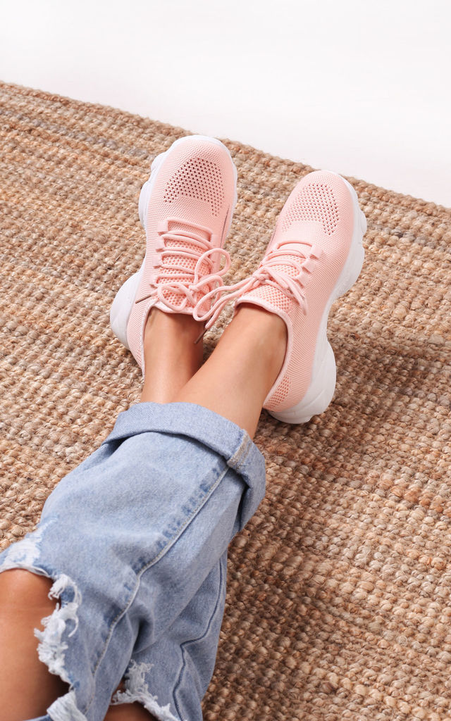 So Fine Pink Flyknit Trainer With Lace Up Detail & Chunky White Rubber Sole by Linzi