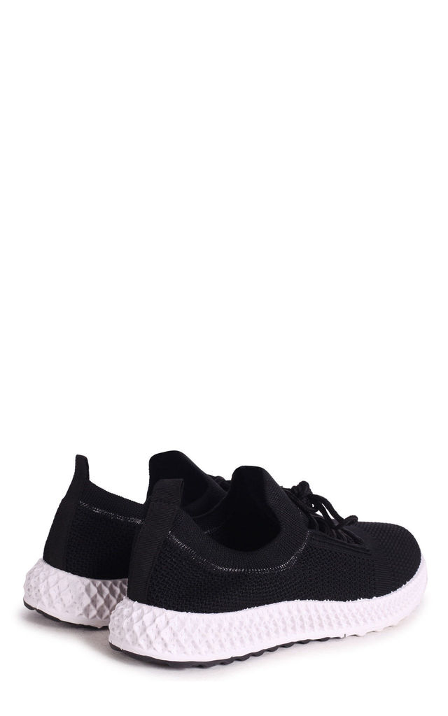 Distraction Black Flyknit Trainer With Lace Up Detail & Chunky Geometric Rubber Sole by Linzi