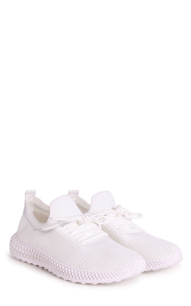 Distraction White Flyknit Trainer With Lace Up Detail & Chunky Geometric Rubber Sole by Linzi