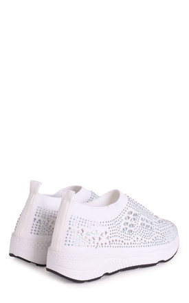 Ambitious White Sock Trainer With All Over Diamante Detail & White Rubber Sole by Linzi