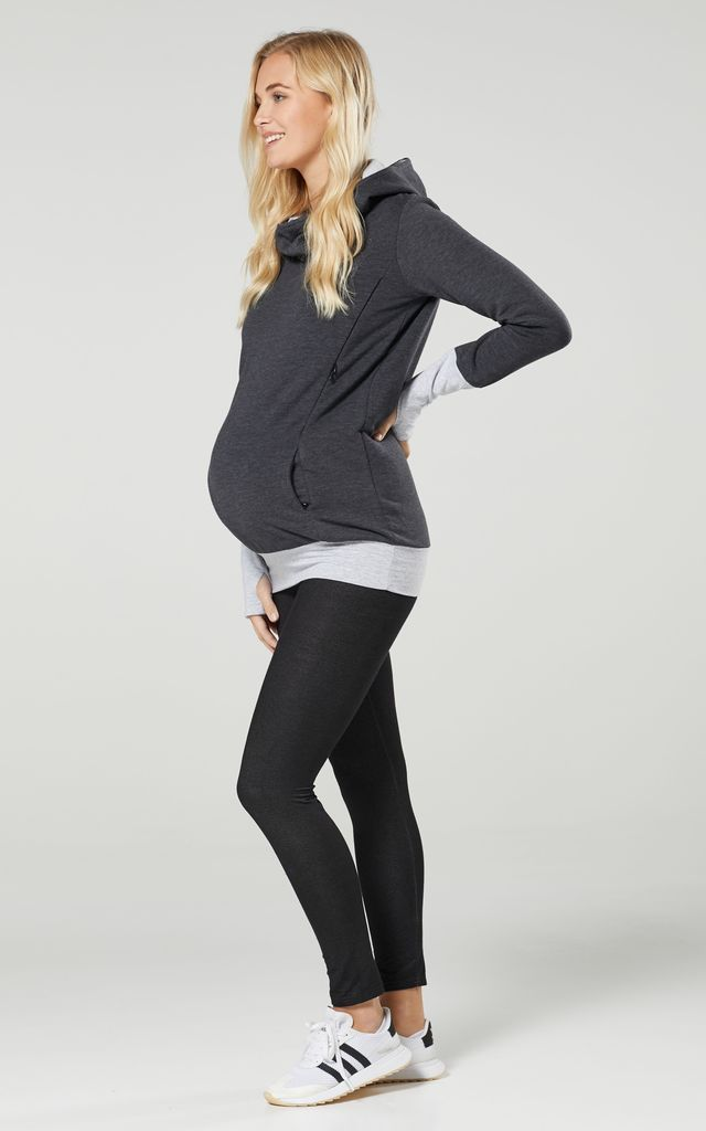 Women's Nursing Hoodie Breastfeeding Contrast Detail Maternity 330 by Chelsea Clark