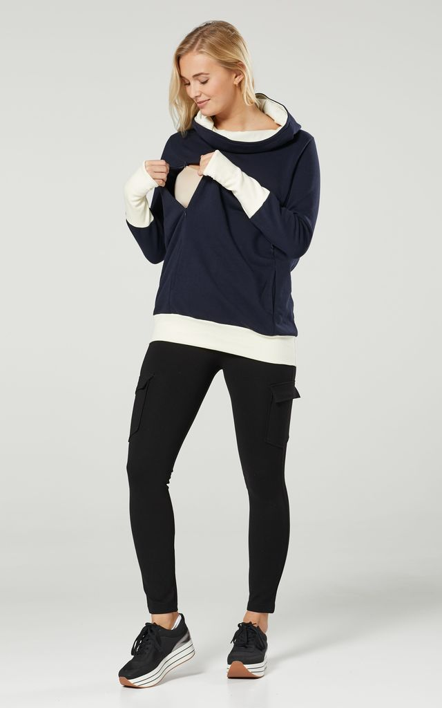 Women's Nursing Hoodie Breastfeeding Contrast Detail Maternity Navy & Ecru 330 by Chelsea Clark