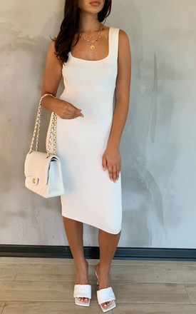 SORELLI White Square Neck Midi Dress by Glamify