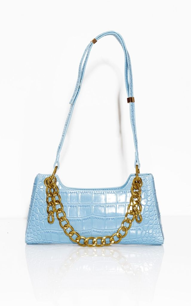 Freya Chain Baguette Bag- Blue by Broke & Beautiful