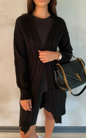 CARRIE Black Distressed Trim Cardigan by Glamify