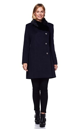 Navy Winter Coat With Faux Fur Collar by Anastasia Fashions
