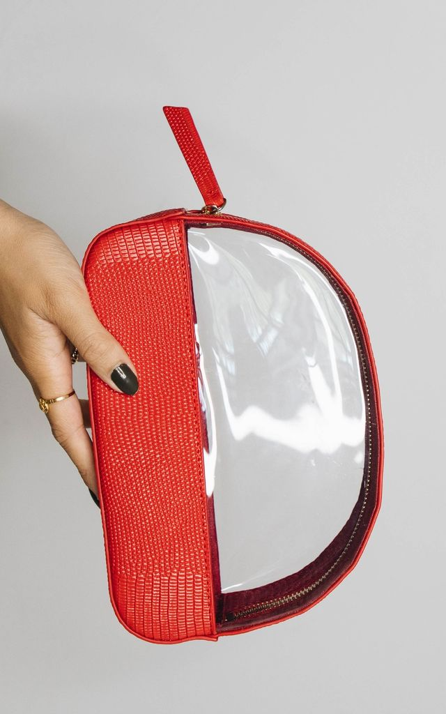 Leather and Perspex Cosmetic Bag 'Malmo' in Red Lizard by Azurina