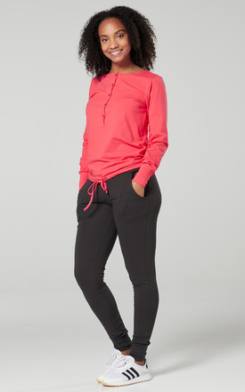 Women's Maternity Nursing Loungewear Buttoned Tracksuit & Jogger Set Coral & Graphite by Chelsea Clark