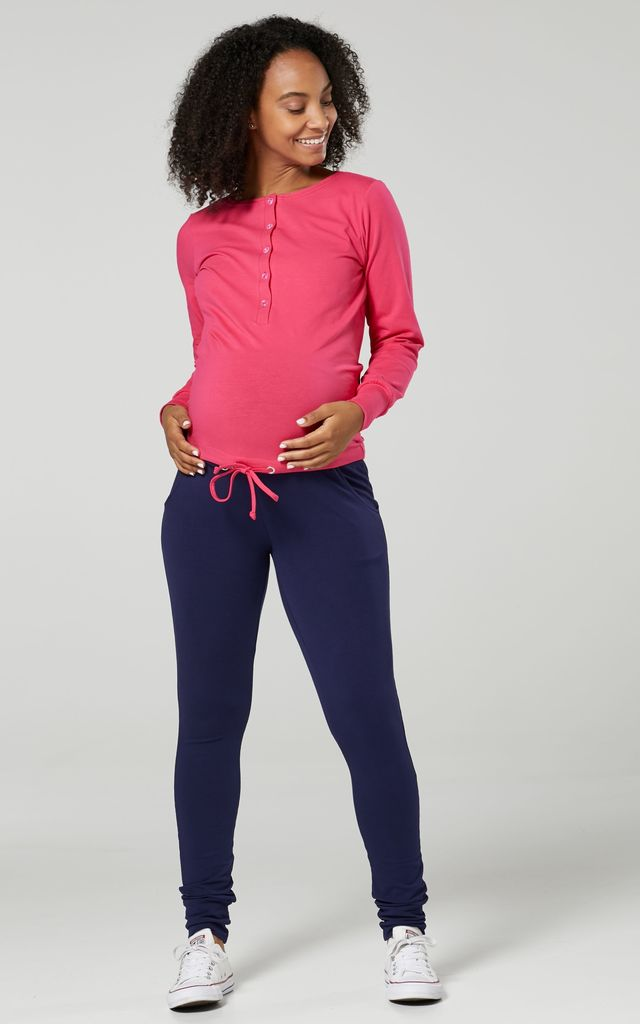 Women's Maternity Nursing Loungewear Buttoned Tracksuit & Jogger Set Fuchsia & Navy Blue by Chelsea Clark