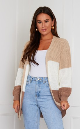 Emery Panelled Longline Cardigan Beige by Girl In Mind Product photo