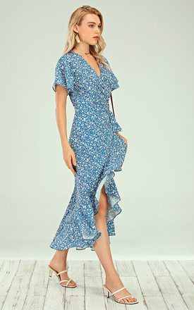 Angel Sleeve Wrap Midi Dress In Blue Floral Print by FS Collection