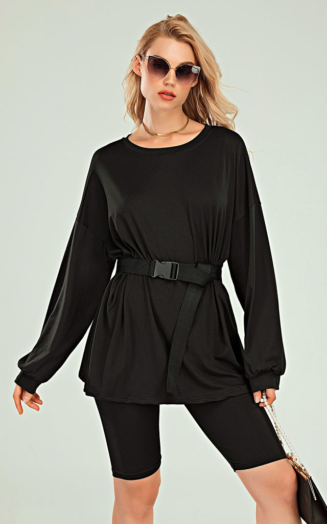 Oversized Top And Cycling Shorts Co Ord Loungewear Set In Black by FS Collection