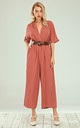 Belted Jumpsuit In Coral Red by FS Collection
