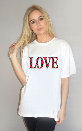 Red and Black Leopard Love Tshirt in White by Sade Farrell
