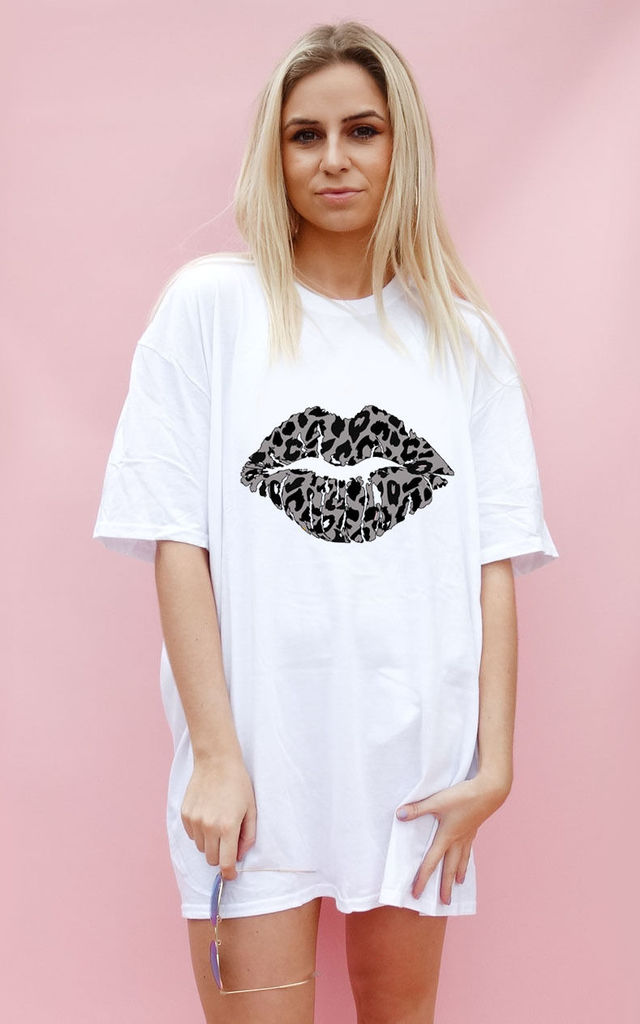 Grey and Black Leopard Lip Motif Oversize Tshirt Dress In White by Sade Farrell