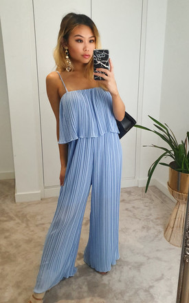 Baby Blue pleated ruffle wide leg jumpsuit by GIGILAND UK