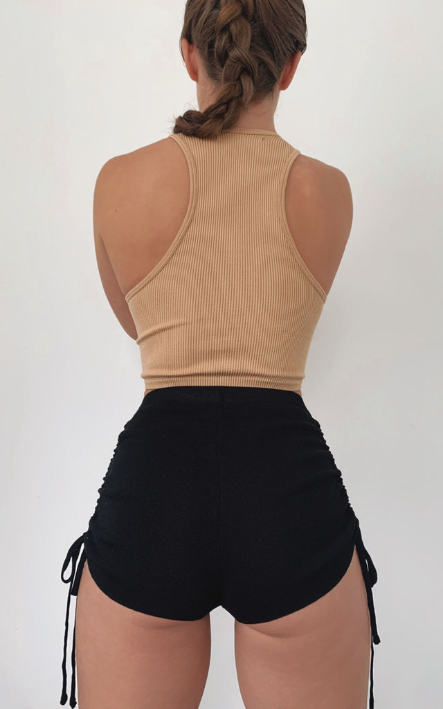 Sandrine High Waist Knit Mini Shorts With Drawstring - Black by Fifi & Bel
