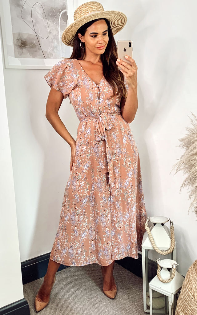 Button Front Midi Dress in Orange Floral by Another Look