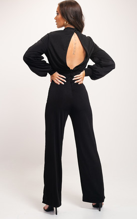 Open Back High Neck Puff Sleeve Jumpsuit Black by LILY LULU FASHION