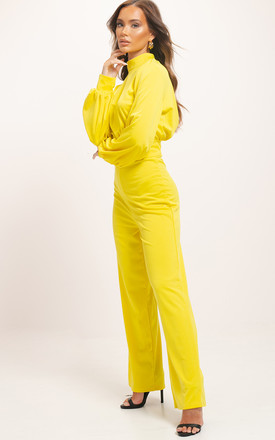 Open Back High Neck Puff Sleeve Jumpsuit Yellow by LILY LULU FASHION