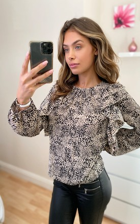 Layla High Neck Ruffled Long Sleeve Top Beige Polka by Girl In Mind Product photo