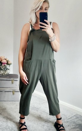 Slouch Oversized Cotton Dungarees In Khaki by FOXY FROX