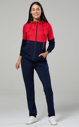 Women's Maternity 3pcs Set: Tracksuit & Joggers w/h Nursing Vest -LONG Red & Navy by Chelsea Clark