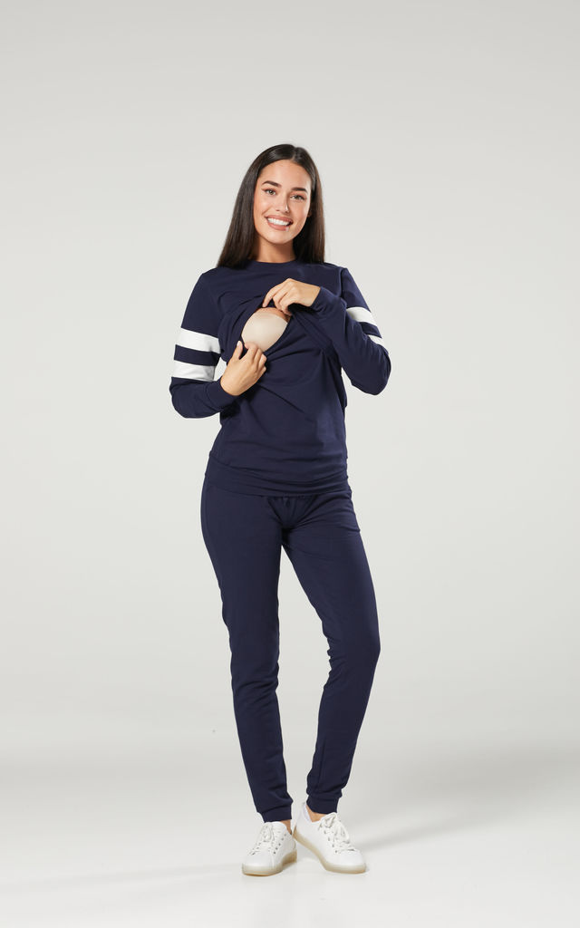 Women's Maternity Nursing Lounge Tracksuit & Joggers Set Navy by Chelsea Clark