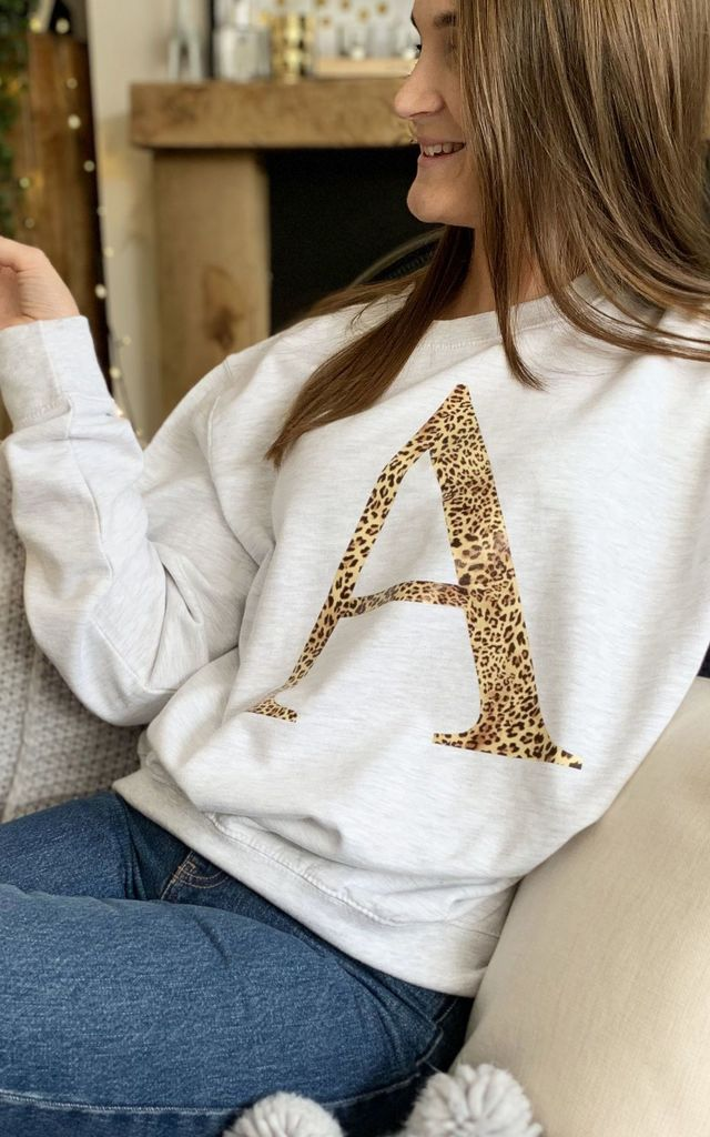 Personalised Leopard Print Initial Jumper by Solesmith