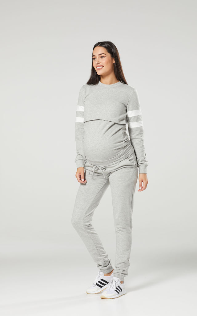 Women's Maternity Nursing Lounge Tracksuit & Joggers Set Grey Melange by Chelsea Clark