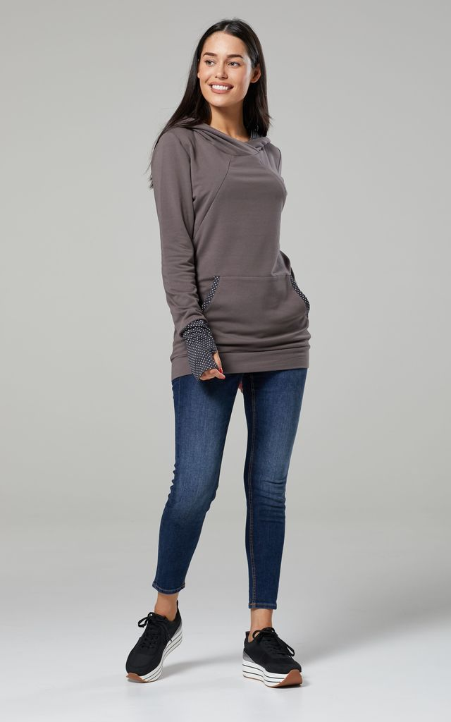 Women's Maternity Nursing Hoodie Zip Cut Out Kangaroo Pocket  Graphite by Chelsea Clark