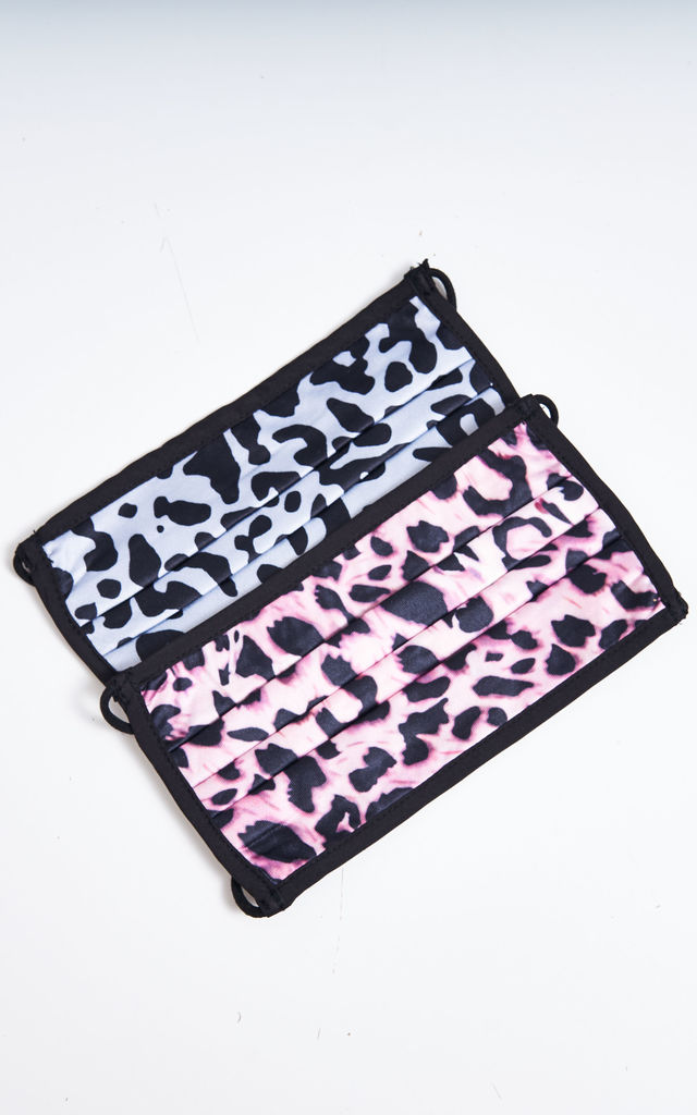 2 Pack Pink And Grey Leopard Print Face Masks by love frontrow