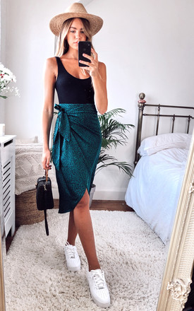 Leopard Print Midi Wrap Skirt In Amazon Green by D.Anna Product photo