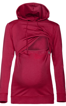 Women's Nursing Hoodie Breastfeeding Sweatshirt Top Maternity Crimson by Chelsea Clark