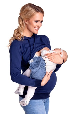 Women's Nursing Hoodie Breastfeeding Sweatshirt Top Maternity Navy by Chelsea Clark