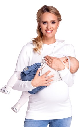 Women's Nursing Hoodie Breastfeeding Sweatshirt Top Maternity Off White by Chelsea Clark
