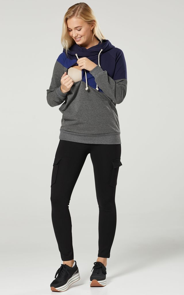 Women's Maternity Nursing Hoodie Zipped Sweatshirt Navy & Blue & Graphite Melange by Chelsea Clark